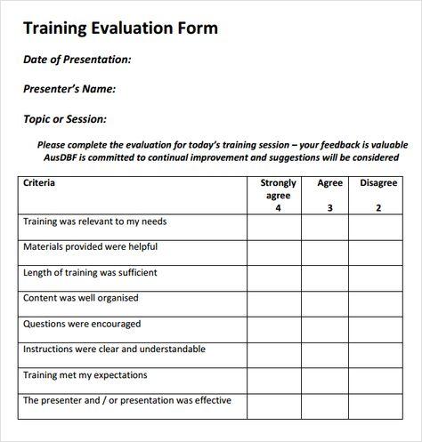 Training Evaluation Form Templates Training Evaluation Form
