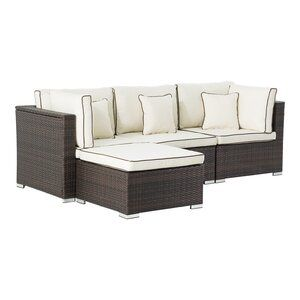 Longshore Tides Bracamonte Patio Sectional With Cushions Wayfair In 2020 Patio Sectional Outdoor Sectional Sofa Cushions