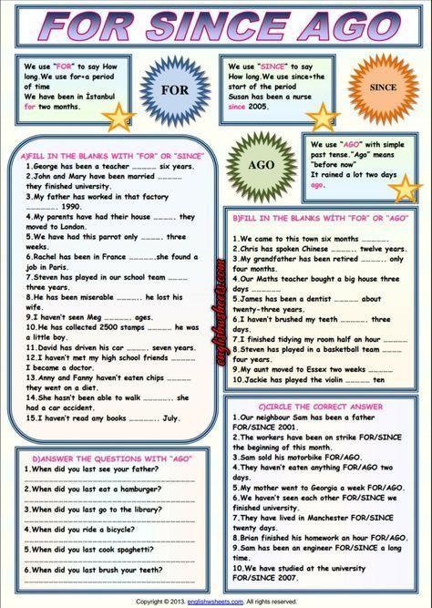 For Since Ago Esl Grammar Exercises Worksheet Learn English Grammar Exercises English Lessons
