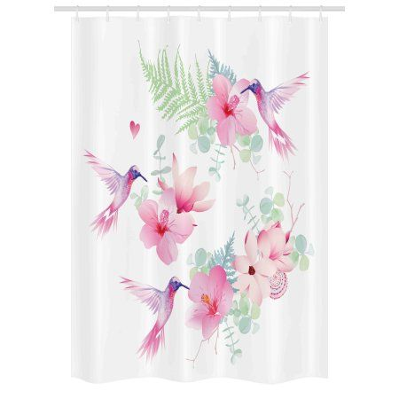 Hummingbirds Stall Shower Curtain Tropical Flowers With Flying