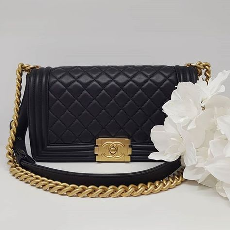 ddfbe43a37aa Preloved excellent condition Chanel Boy Medium Black Lambskin Leather  Antique Gold Hardware serial code starting with 249. Full set with no box.