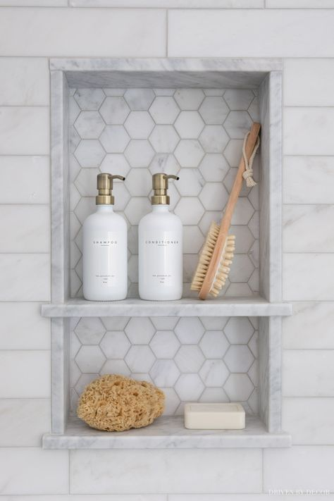 Marble tile shower niche with two shelves - love! Tile Shower Niche, Bathroom Niche, Laundry In Bathroom, Concrete Bathroom, Bathroom Faucets, Shower With Subway Tile, Marble Tile Shower, Bathroom Lighting Fixtures, Basement Bathroom Ideas