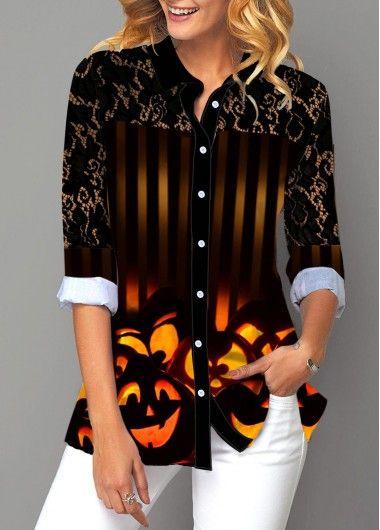 Button Up Halloween Print Turndown Collar Blouse Rotita Com Usd 14 93 Trendy Fashion Tops Trendy Tops Trendy Tops For Women