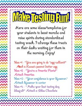 FREE Standardized Testing Treat Templates - Tanya Villacis - TeachersPayTeachers.com