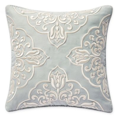 Waterford Gwyneth Square Reversible Throw Pillow In Pale Blue Decorative Pillows Pillows Pillow Embroidery