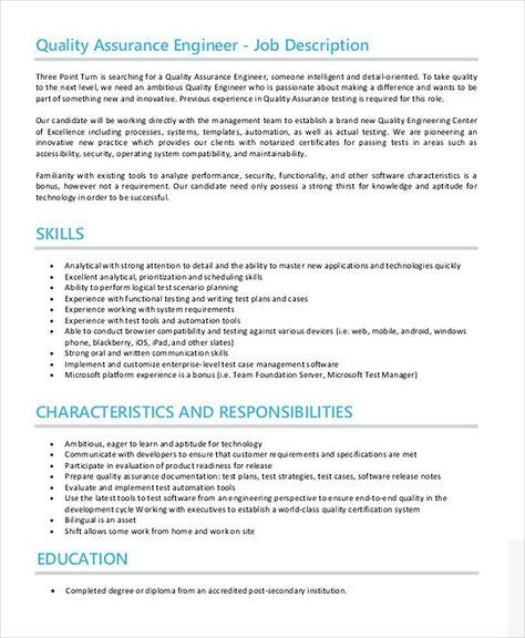 Quality Assurance Engineer Job Description , Quality Assurance - quality assurance manager resume