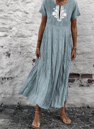 Casual Kurze Armel Blumen Midi Kleider Floryday Kleider Kleider Damen Lassig Kleidung