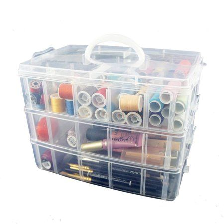 Art Supplies 3-Layer Stackable Craft Storage Organizer Case Craft Organizer Box Beauty Supplies Plastic Craft Supplies Organizer with Adjustable Compartments for Accessories 6 x 6 x 5 Inches