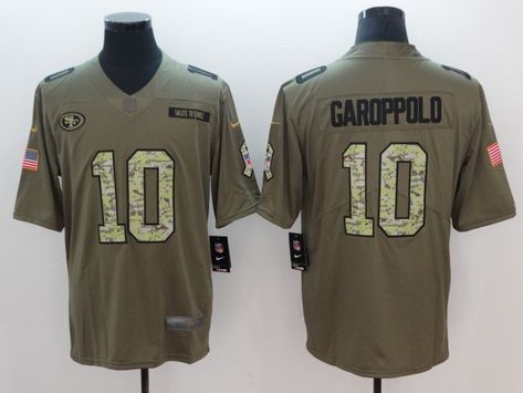 ae344920a Nike 49ers 10 Jimmy Garoppolo Olive Camo Salute To Service Limited Jersey