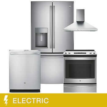 Costco Package 4400 Thru 2 27 19 Ge 4 Piece Electric 22 2cuft Counter Depth Frenc Gas Kitchen Appliances Counter Depth French Door Kitchen Appliance Packages