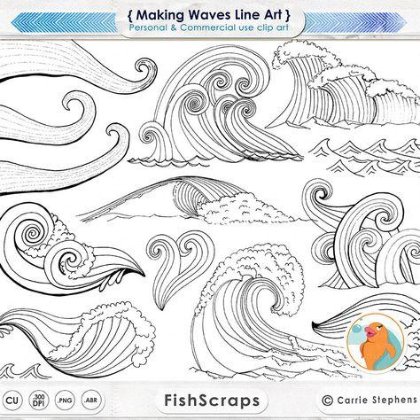 Wave Linie Kunst Silhouetten Wasser-ClipArt von FishScraps auf Etsy