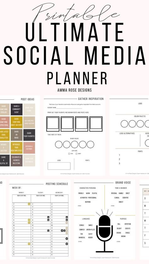 Social Media Planner | Business Planner | Social Media Plan | Instagram Planner | Social Media | Marketing Planner | Printable Planner