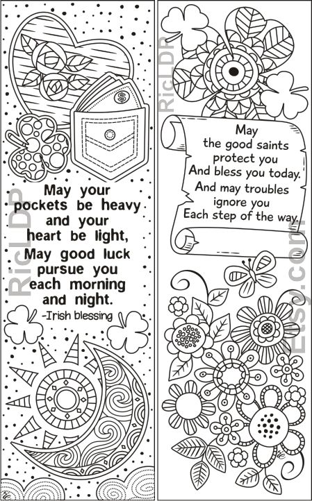 Set Of 8 St Patrick S Day Coloring Bookmarks Shamrock Etsy Coloring Bookmarks Book Markers Bookmarks
