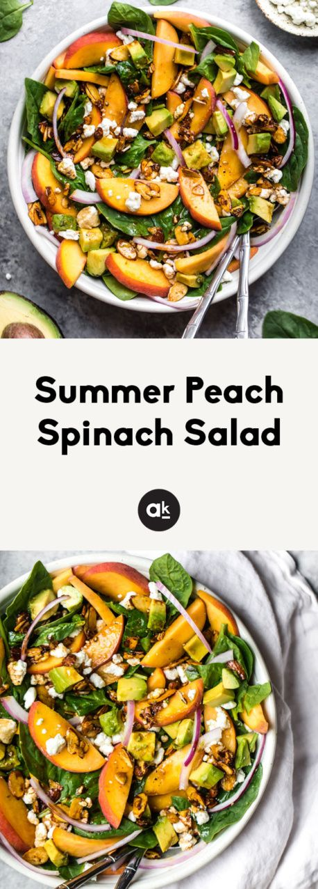 One of my favorite go-to summer salads is this fresh peach spinach salad with creamy goat cheese, heart-healthy avocado and crunchy toasted almonds. Drizzled with an easy homemade balsamic vinaigrette. So good and easy! #spinachsalad #healthysalad #peaches #peachrecipe #vegetarianrecipe #summerfood #healthyeating