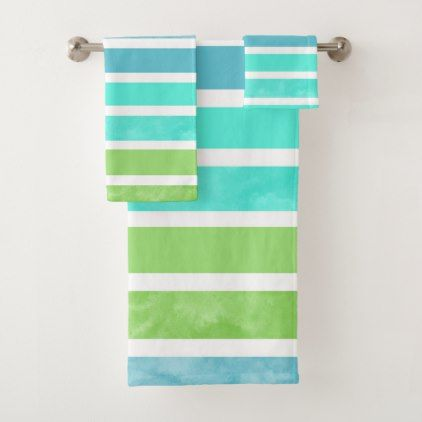 Turquoise Blue Green White Stripes Bath Towel Set Zazzle Com Striped Bath Towels Towel Set Bath Towel Sets