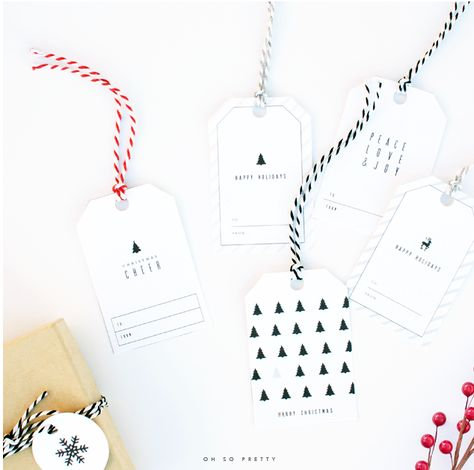 FREE printable Christmas gift tags and some ideas for creating a gift wrapping station.  Create Home Storage