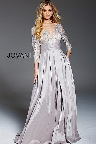 Cafe Lace Long Sleeve Bodice A Line Formal Gown 46964 ...