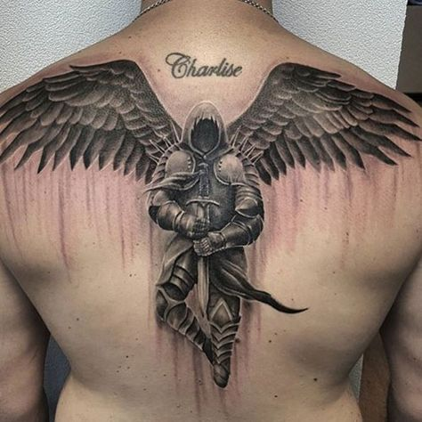 Engel Tattoo Designs mit Bedeutungen – 30 Ideen Angel Tattoo Designs with Meanings – 30 Ideas, Angel with Sword Tattoo on Back, Fantasy Disney tattoos