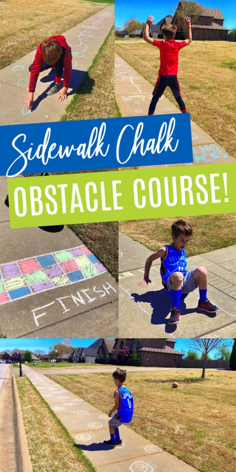 Make a FUN Sidewalk Chalk Obstacle Course for Kids! The Perfect Boredom Buster For Kids at Home This Summer or During Quarantine! Outside Activities For Kids, Childcare Activities, Water Activities, Summer Activities For Kids, Family Activities, Water Games, Indoor Activities, Kids Obstacle Course, Boredom Busters For Kids