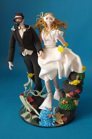 Vertical Scuba Diving Bride And Groom Wedding Cake Topper Rosie S Pinterest Scubas
