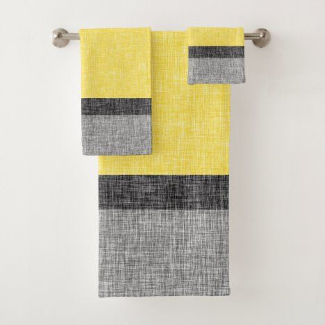 Yellow And Grey Big Stripe Burlap Weave Print Bath Towel Set Zazzle Com In 2020 Towel Set Bath Accessories Set Bath Towel Sets