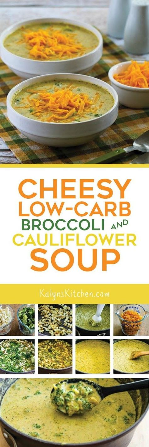Cheesy Low-Carb Broccoli and Cauliflower Soup is delicious and this flavorful soup has no flour so it's also gluten-free! [found on KalynsKitchen.com]