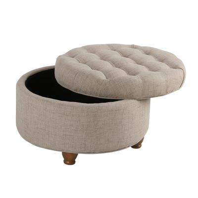 Awe Inspiring Asda Brown Faux Leather Tufted Round Storage Ottoman Room Inzonedesignstudio Interior Chair Design Inzonedesignstudiocom