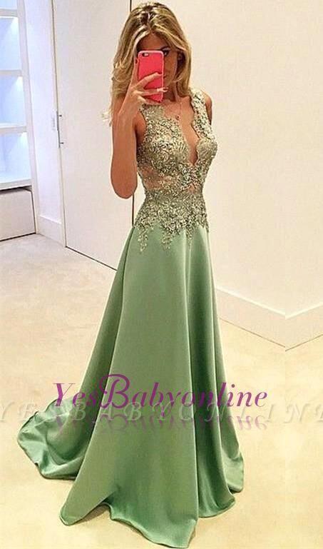 Sleeveless V-neck 2019 A-line Long Appliques Evening Dresses   Yesbabyonline.com