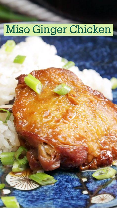 Miso Ginger Chicken with Shiitake Mushroom Rice