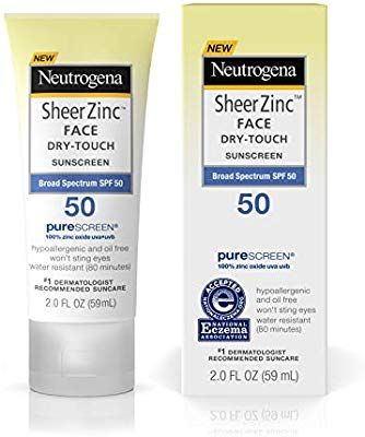 Amazon Com Neutrogena Sheer Zinc Oxide Dry Touch Face Sunscreen With Broad Spectrum Spf 50 Oil Free Mine Sunscreen Spf 50 Spf Sunscreen Zinc Oxide Sunscreen