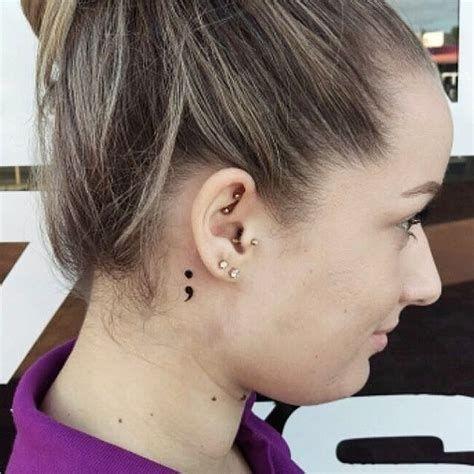 Unique Semicolon Tattoo Behind Ear