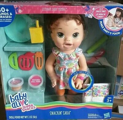 Baby Alive Super Snacks Snackin Sara 15 Doll Talks Eats Drinks Poops New Condition Is New Shipped With Usps Priority Mail In 2020 Super Snacks Baby Alive Dolls