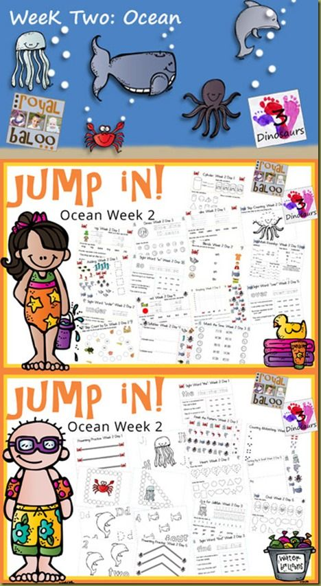 Jump In to Learning Ocean Theme - Week 2   A summer learning program for toddler, preschool, kindergarten, and first grade.  Covers letters, numbers, sight words, word families, addition, subtraction, math, money, and more