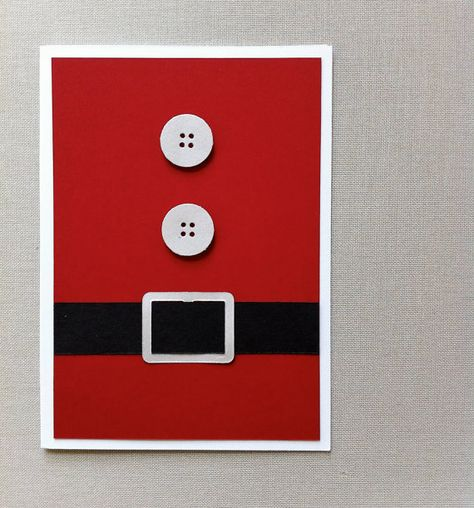 Santa Holiday Card  Red black white  Cookies and by imeondesign