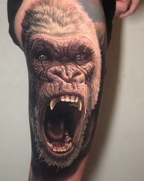 Super realistic gorilla head tattoo by Steve Butcher