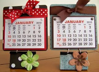 Calendar made from a binder clip and coasters