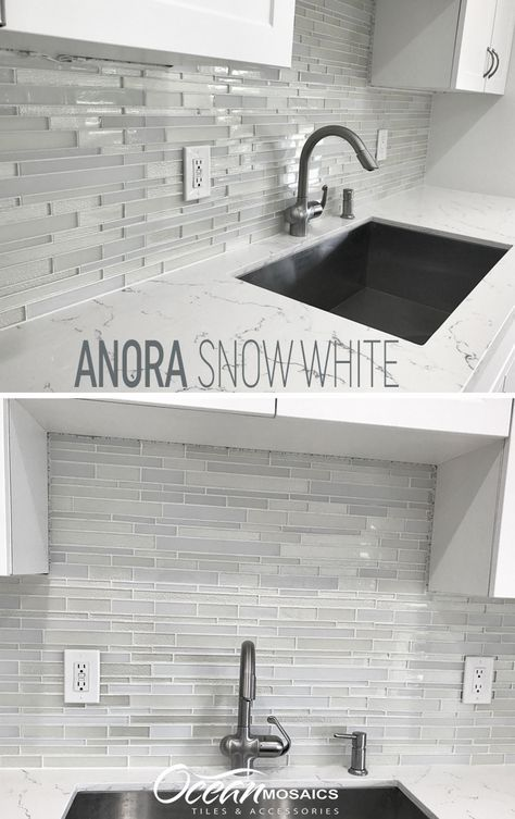 Anora Snow White Mosaic Glass Tile In 2020 Glass Backsplash