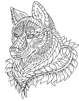 adult coloring pages dog animal patterns | pergamano | Adult ...