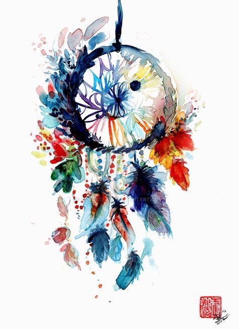 Watercolor Dreamcatcher by Cocobeeart on DeviantArt                                                                                                                                                      More