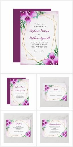 Modern Geometric Purple Calla Lily Wedding This Collection Of