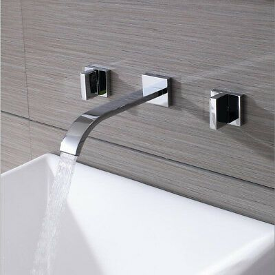 3PCS Wall Mounted Bathtub Waterfall Spout Mixer Tap Chrome Double Handle Faucet