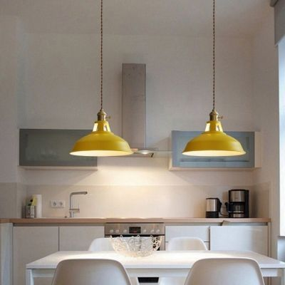 Industrial Hanging Pendant Light With Colorful Barn Shade 1 Light Pendant For Dining Table Restaurant Kitchen White Black Blue Green Grey Pink Yellow Hanging Pendant Lights Dining Table Pendant Light Pendant Lighting Over Dining Table