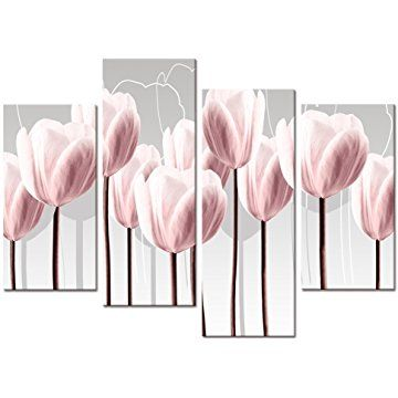Visual Art Floral Canvas Wall Art Canvas Print Pink Tulips For Wall Decor Framed And Stretched 4 Panels Pink Wall Art Floral Wall Art Canvases Pink Wall Decor