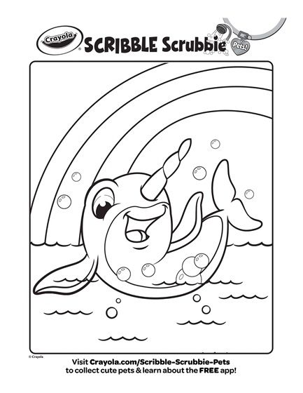 Scribble Scrubbie Pets Narwal Naomi Coloring Page Crayola Com Free Coloring Pages Coloring Pages Animal Coloring Pages