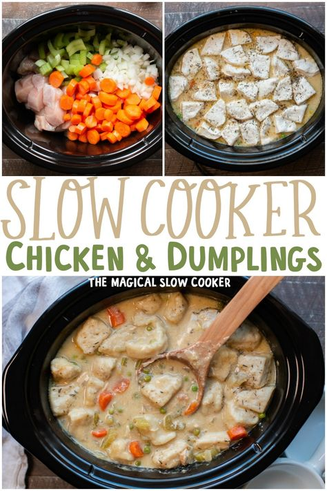 Easy slow cooker chicken and dumplings, made with canned biscuits and cream soups but tastes completely homemade. - The Magical Slow Cooker Creamy chicken soup with biscuits for the dumplings all made in the slow cooker. Slow Cooker Chicken Dumplings, Chicken Dumpling Soup, Homemade Chicken And Dumplings, Easy Crockpot Chicken, Dumplings For Soup, Chicken Recipes, Chicken And Biscuits Crockpot, Slow Cooker Alfredo Chicken, Chicken In Slow Cooker
