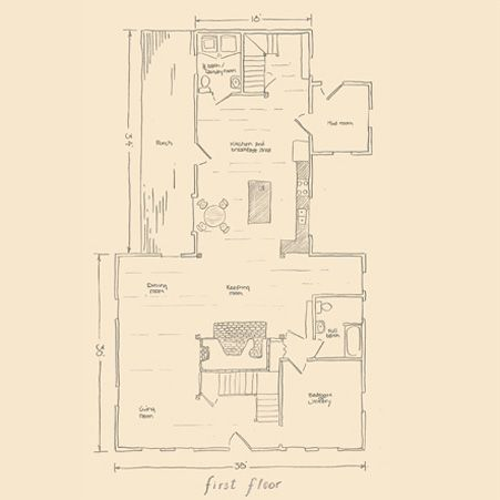 gambrel house with center chimney and ell first floor plan