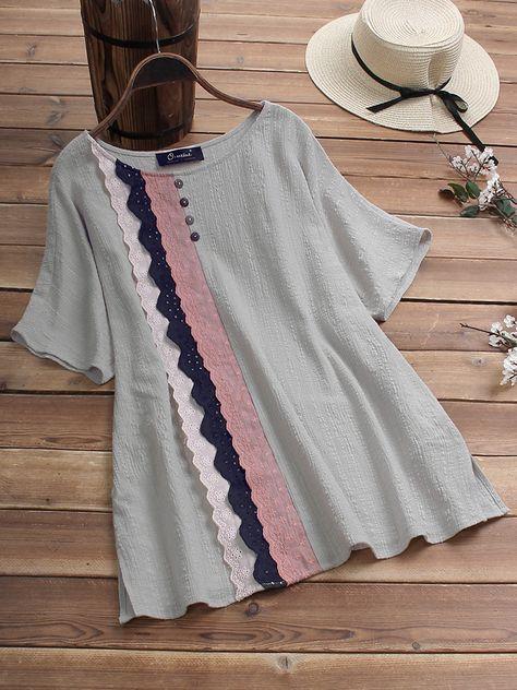 Vintage Lace Patchwork Half Sleeve Plus Size T-shirt