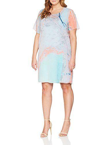 Frapp Women S Kleid Rundhals 1 2 Arm Druck Dress Multicolour Aquamarine Multicolor 567 22 Kleider Kleider Fur Frauen Damen