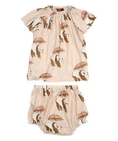 MilkBarn Organic Cotton Short Sleeve Peasant Dress with Bloomer Pear