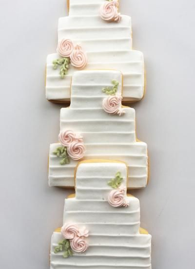 Banded Wedding Cake Cookie Favors Whipped Bakeshop Wedding Cake Cookies Bridal Cookies Wedding Shower Cookies